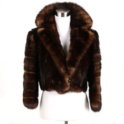 Irving Goldstein Furs of Beverly Hills Opossum Fur Cropped Jacket