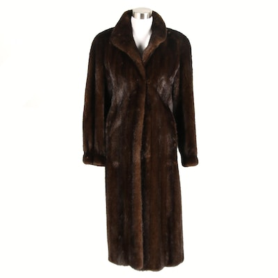 The Evans Collection Dark Brown Mink Fur Coat