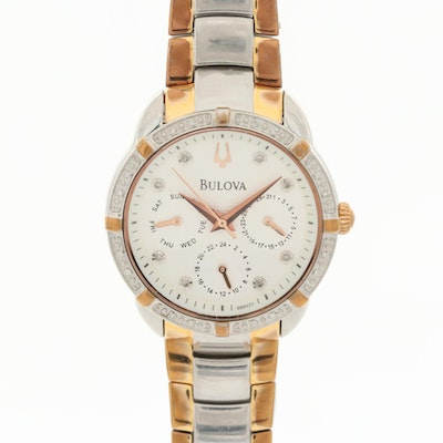 Bulova Maribor Diamond Bezel, Rose Gold Tone and Stainless Steel Wristwatch