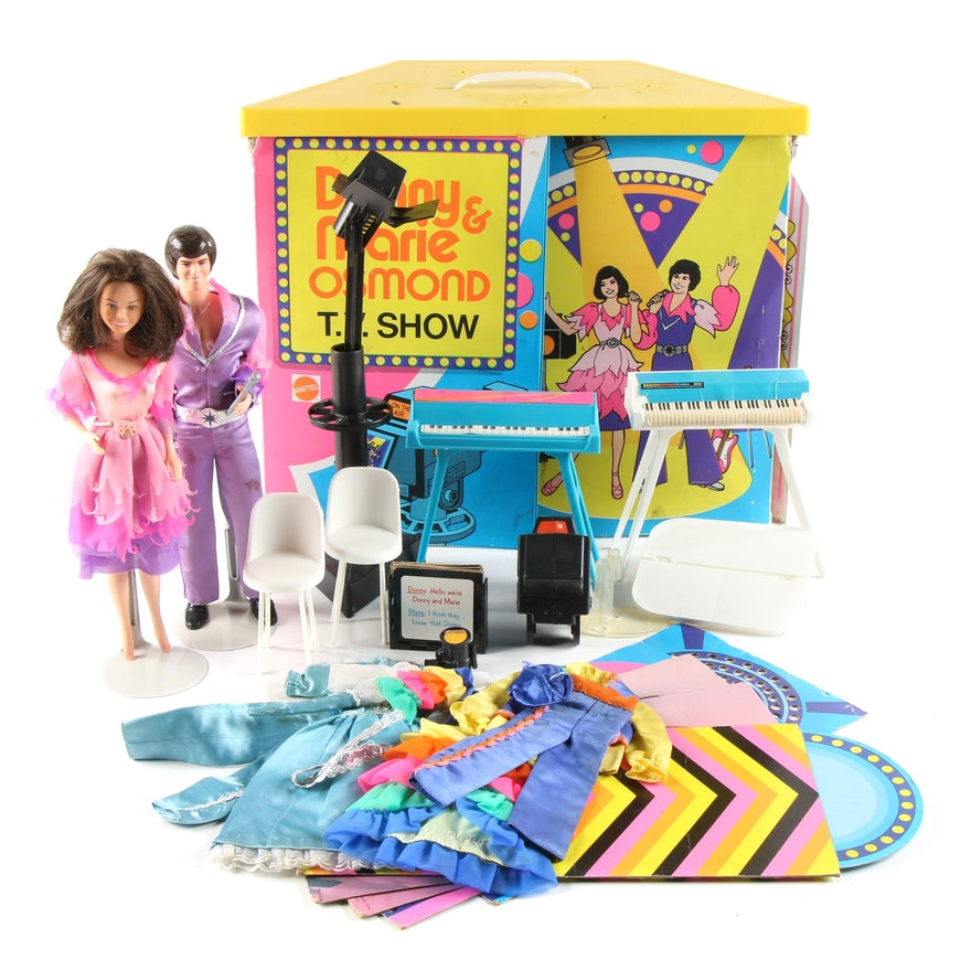 """""""Donny and Marie Osmond T.V. Show"""" Dolls with Play Set Case, 1970s"""