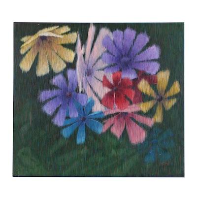 "J.C. Hall Lineallist Acrylic Painting ""Spring Bouquet"""