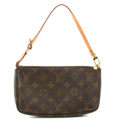 Louis Vuitton Pochette in Monogram Canvas and Leather with Dust Bag
