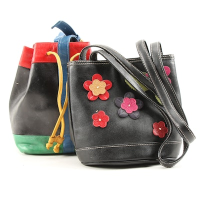 Susan Gail Color Block Bucket Bag and Liz Claiborne Floral Appliqué Purse