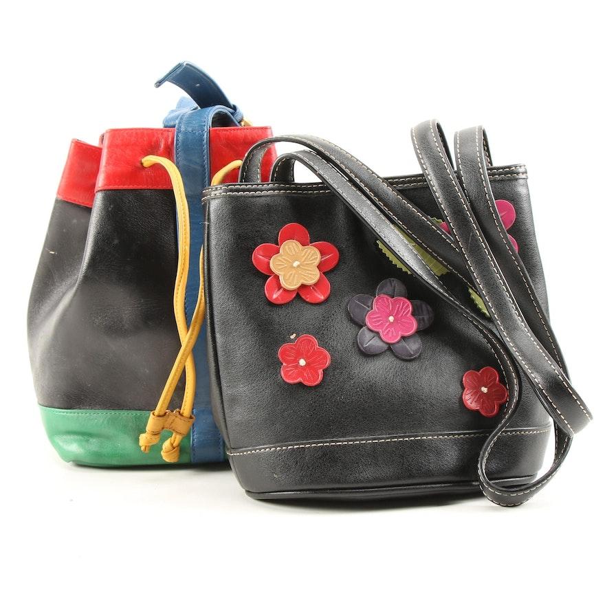 Susan Gail Color Block Bucket Bag and Liz Claiborne Floral Appliqué Purse