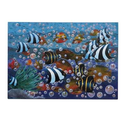 "J.C. Hall Acrylic Painting ""Through the Reef"""