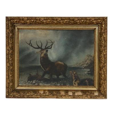 19th Century Wildlife Oil Painting