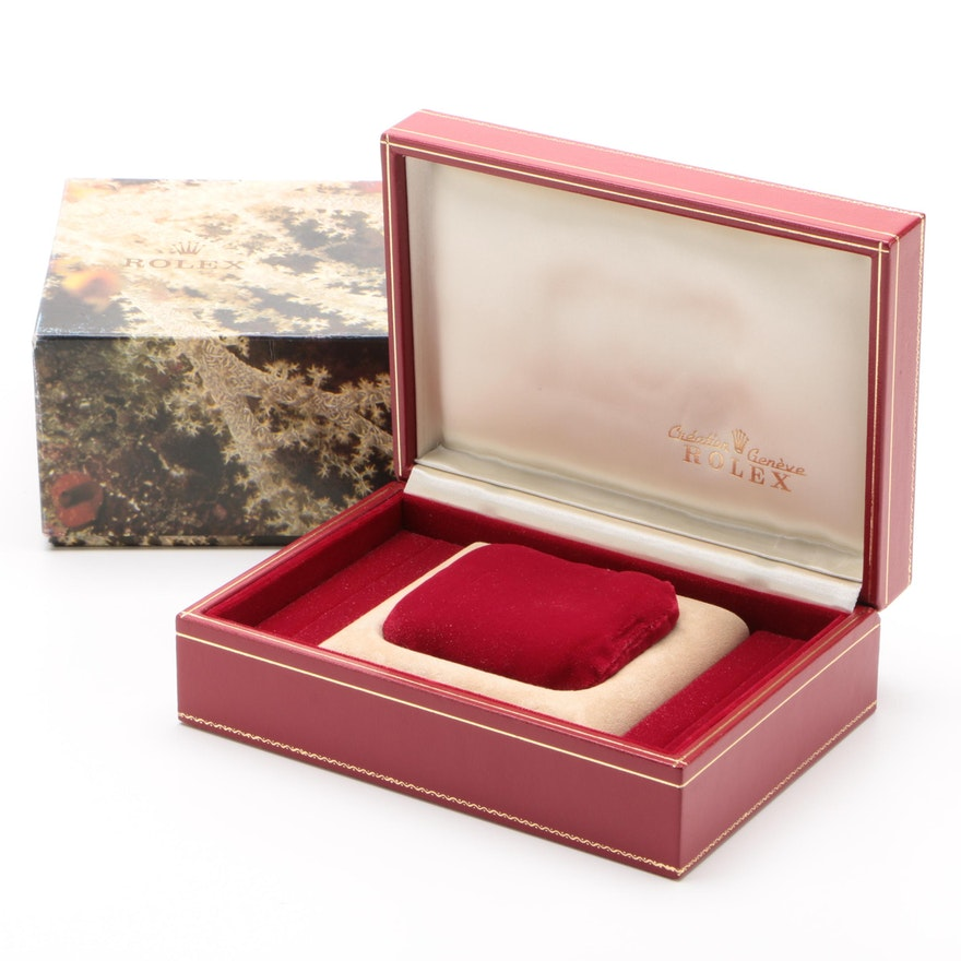 Rolex Red Leather Watch Case with Embroidered Top and Gift Box, Vintage