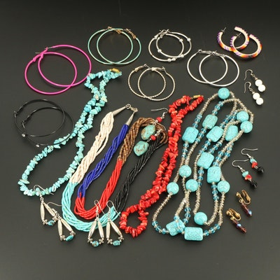 Turquoise, Howlite and Glass Assortment of Earrings and Necklaces