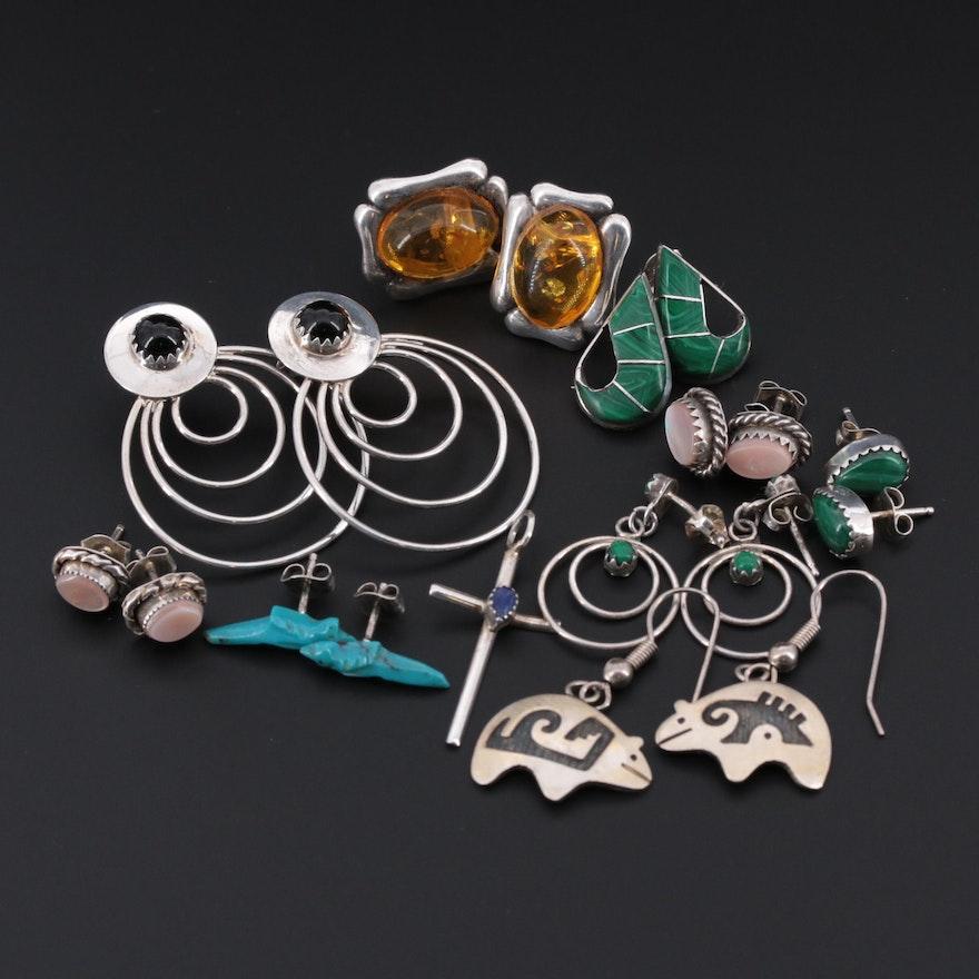 Southwestern Style Sterling Silver Gemstone Earrings Featuring Spirit Bear Pair
