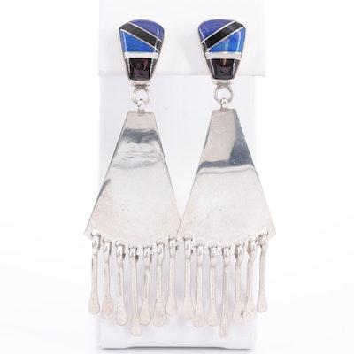 G. Howe Navajo Diné Sterling Silver Gemstone Inlay Earrings