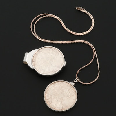 Sterling Silver Necklace and Money Clip with 2000 American Silver Eagle Coins