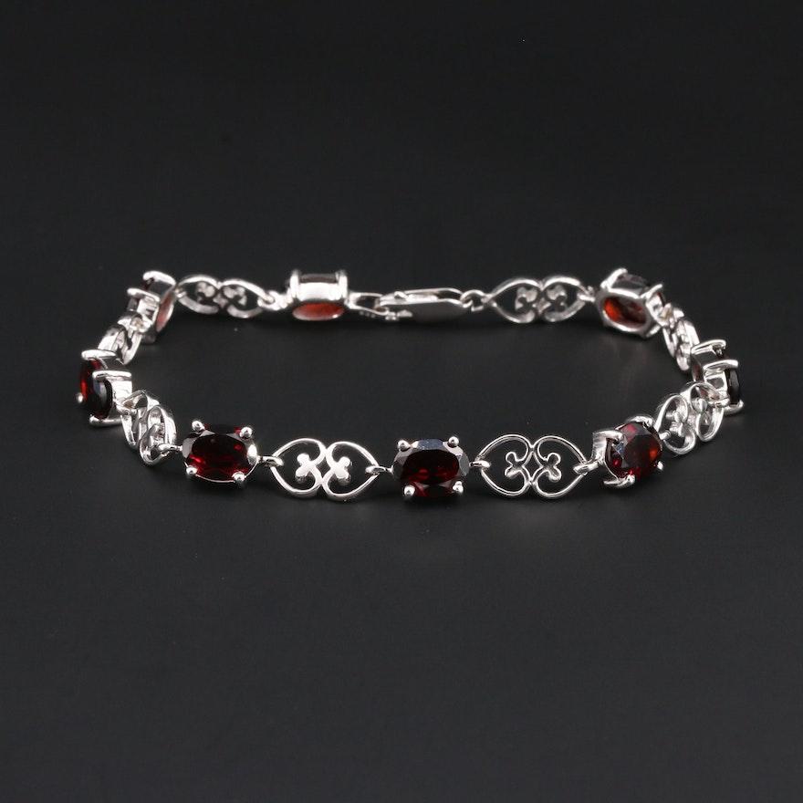 Sterling Silver Garnet Bracelet