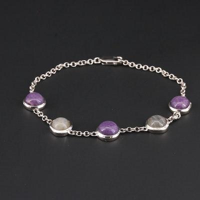 Sterling Silver Sugilite and Labradorite Bracelet