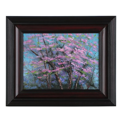 "James Baldoumas Landscape Oil Painting ""Cherry Blossoms"""