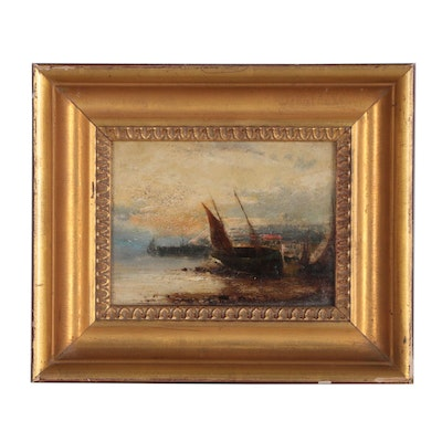 Oil Painting of Harbor Scene