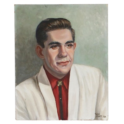 Tula Piatt Portrait of Man Oil Painting, 1957