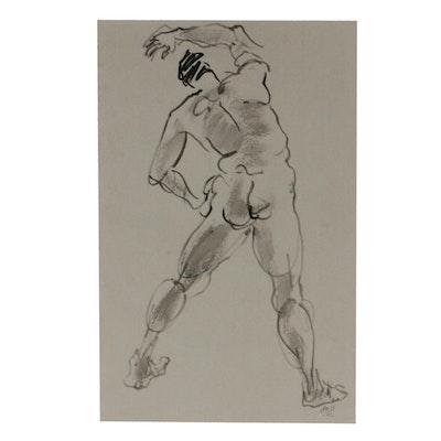 Lois Davis Male Nude Figure Mixed Media Drawing