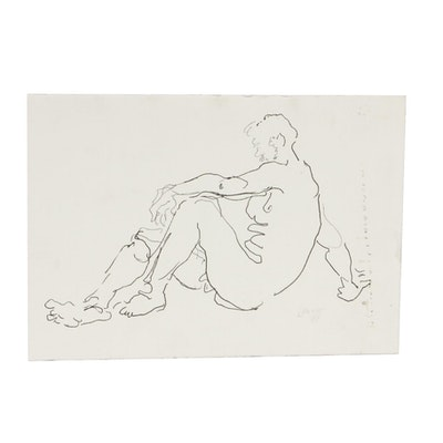 Lois Davis Seated Male Nude Ink Drawing