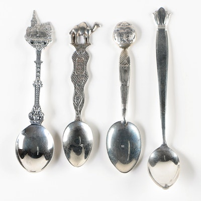 Egyptian 800 Silver Souvenir Spoons with Sterling Silver Spoons, Vintage