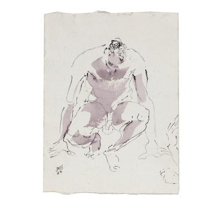 Lois Davis Nude Male Figure Mixed Media Painting