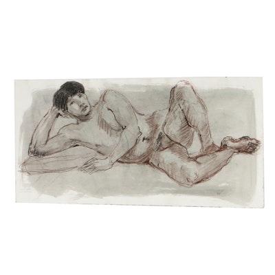 Lois Davis Male Nude Mixed Media Drawing