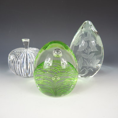 Waterford Crystal Apple and Other Art Glass Paperweights