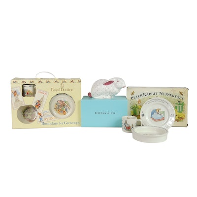 Tiffany & Co. Porcelain Coin Bank with Ceramic Nursery Sets