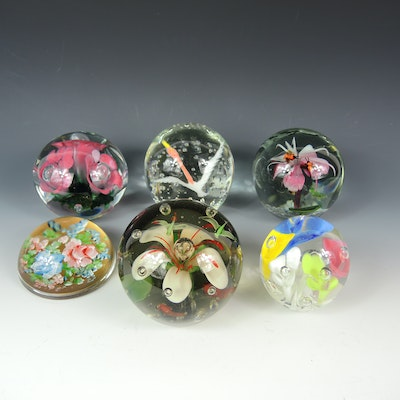 Joe St. Clair, Zimmerman and Other Art Glass Paperweights, Late 20th Century