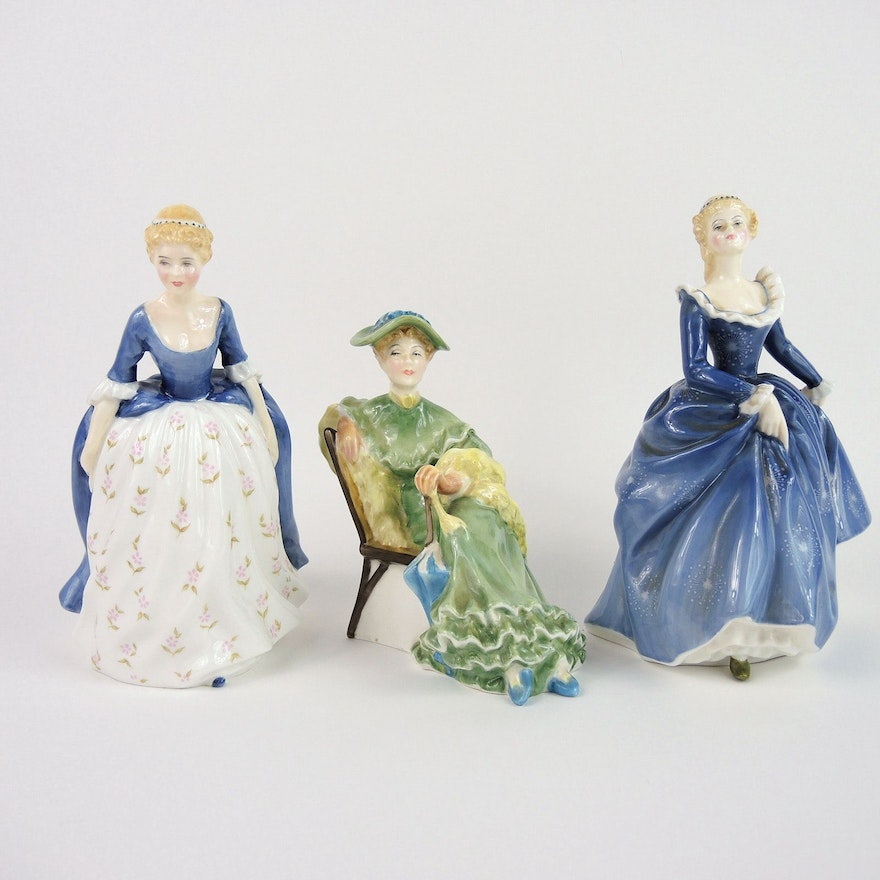 "Royal Doulton ""Fragrance"", ""Alison"", and ""Ascot"" Porcelain Figurines"