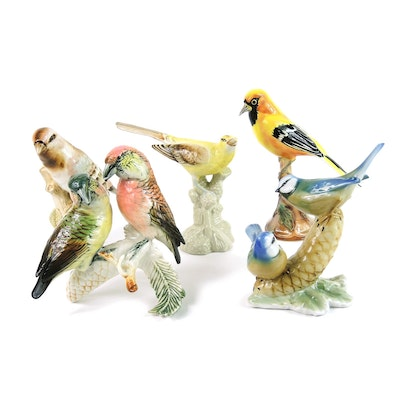 Royal Dux and Other Porcelain Bird Figurines, Mid to Late 20th Century