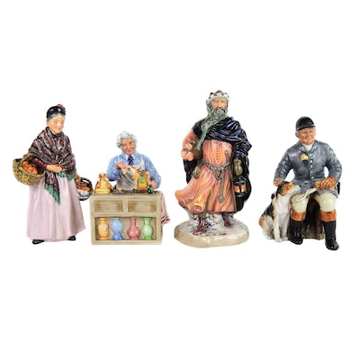 """Royal Doulton """"The China Repairer"""", """"The Orange Lady"""", Porcelain Figurines"""