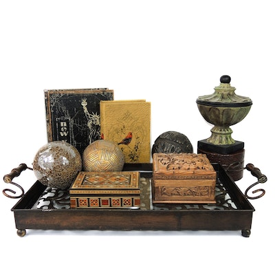 Carved Wooden Serving Tray, Decorative Boxes, and Other Decor