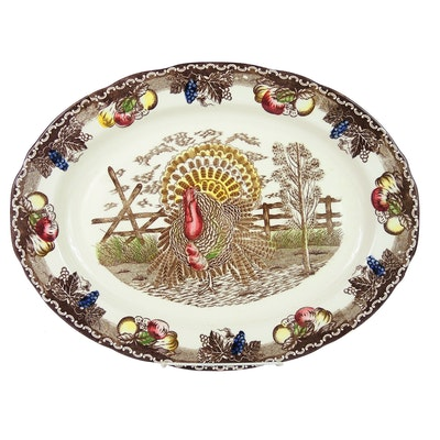"American Tradition ""King Tom Turkey"" Hand-Decorated Ironstone Platter"