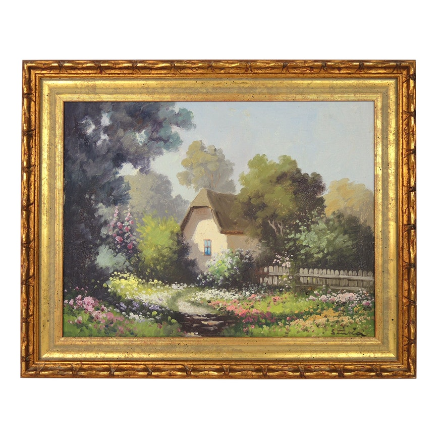 Oil Painting of Cottage, Mid to Late 20th Century