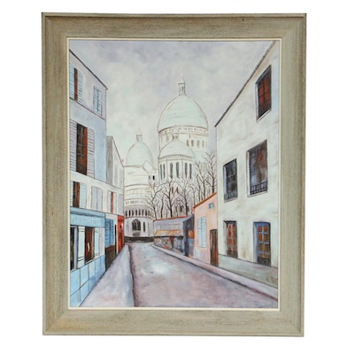 Mid 20th Century City Street Scene Oil Painting
