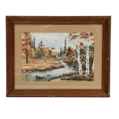 Doris Gardas Forest Landscape with Fowl Watercolor Painting