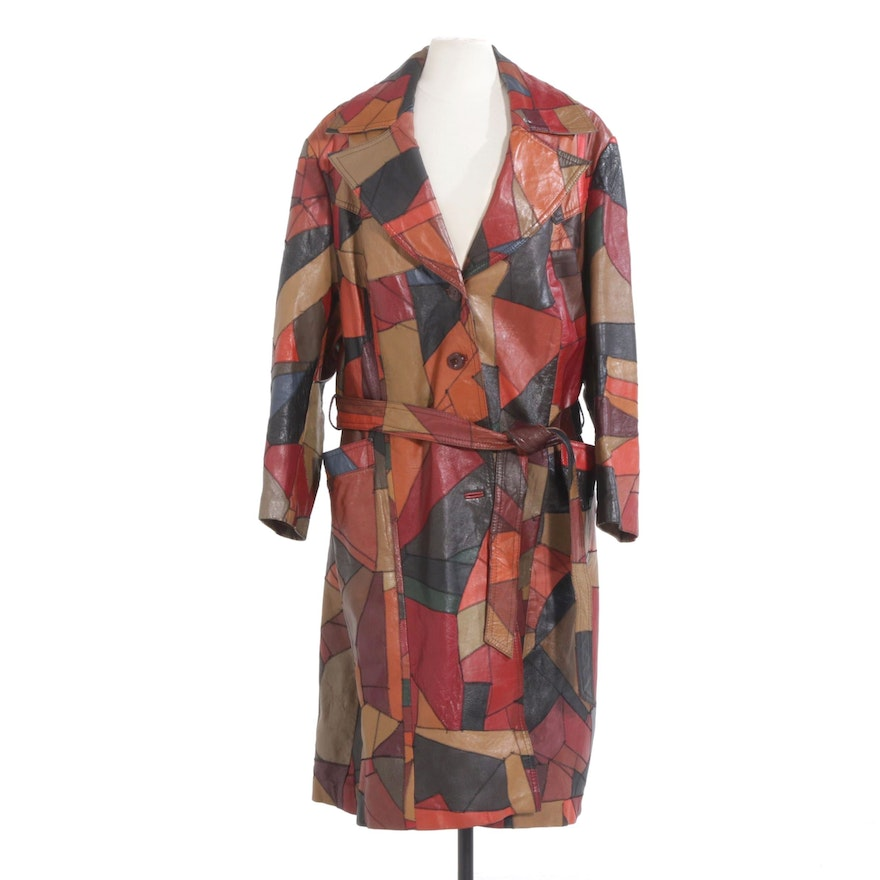 Leather Patchwork Trench Coat with Tie Belt, 1970s Vintage