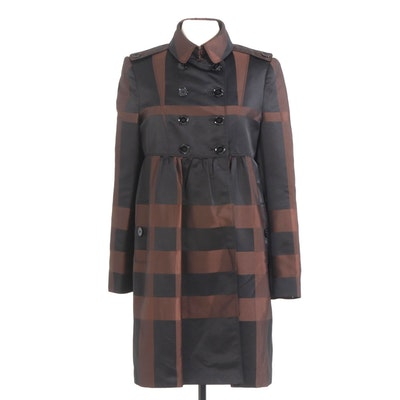 Burberry London Double-Breasted Empire-Waist Jacket in Black and Brown Check
