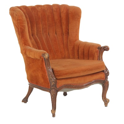 Louis XV Style Clamshell Highback Walnut Upholstered Armchair, 20th Century