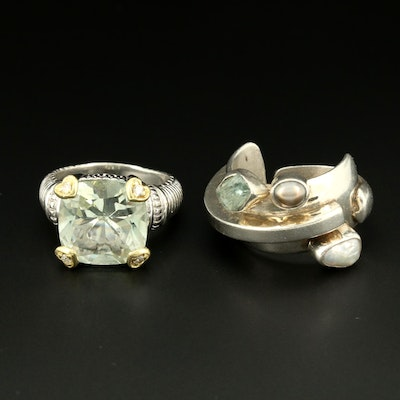 Sterling Silver Rings Featuring Lilly Barrack, 18K Gold Accents and Diamonds