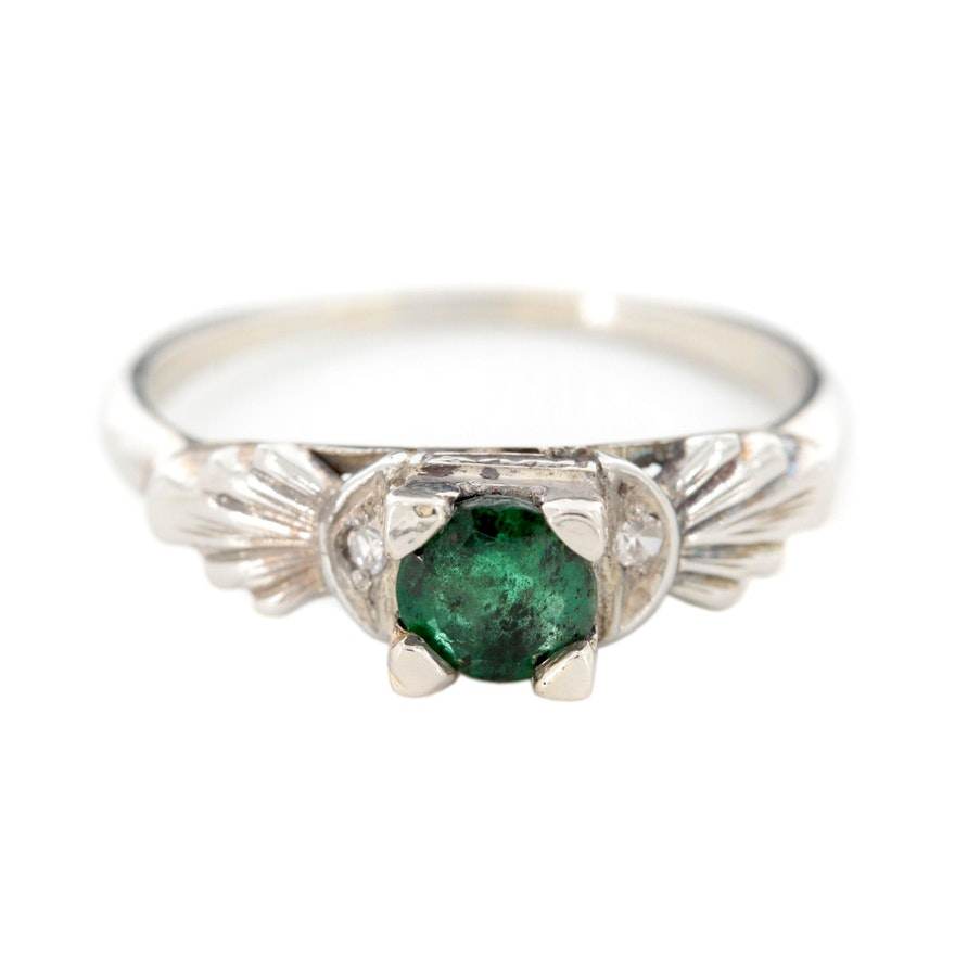 Vintage 18K White Gold Emerald and Diamond Ring