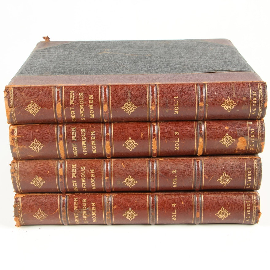 """1894 """"Great Men and Famous Women"""" Edited by Charles Horne, Four Volumes"""