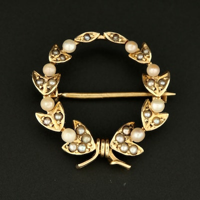 Victorian 14K Yellow Gold Seed Pearl Wreath Brooch