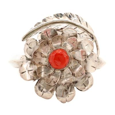 Sterling Silver Coral Floral Cuff Bracelet