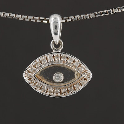 14K White Gold Diamond Evil Eye Pendant on Box Chain Necklace