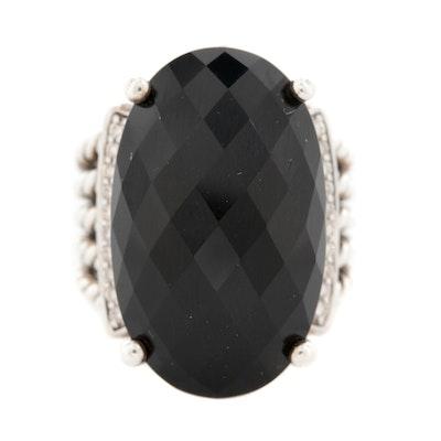 David Yurman Black Onyx and Diamond Ring