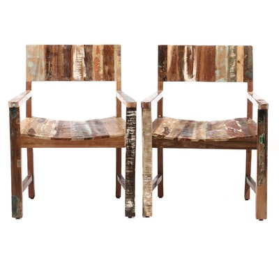 Pair of Contemporary Paint Distressed Armchairs