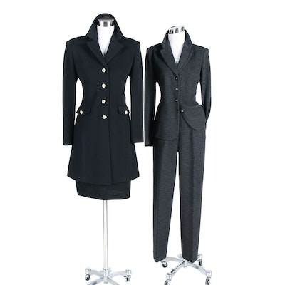 St. John Collection Charcoal Pantsuit and St. John Essentials Black Skirt Suit