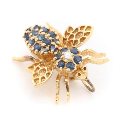 Sterling Silver Sapphire and Cubic Zirconia Bee Brooch