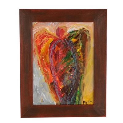 """Claire McElveen Acrylic and Oil Pastel """"Guardian Angel"""""""
